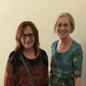Anita Garvey (AFR Services) with Susan G. Parker (Bradford Management Co.)for delivery to Trusted World to help displaced people in Dallas area shelters.